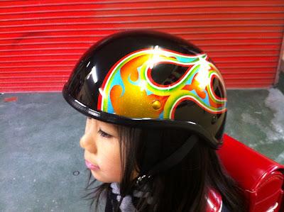 1253797085 - カスタムペイント工程  ダックテールヘルメット 奈良フレイムス