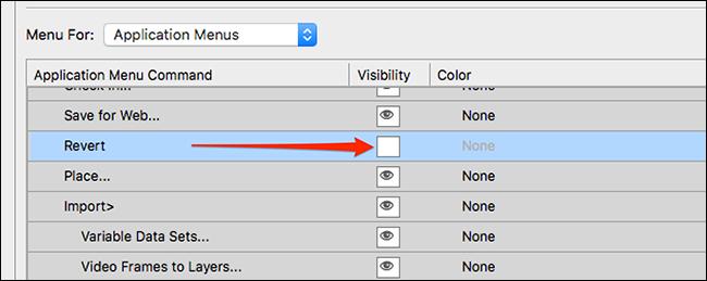 إخفاء عنصر في قائمة Photoshop