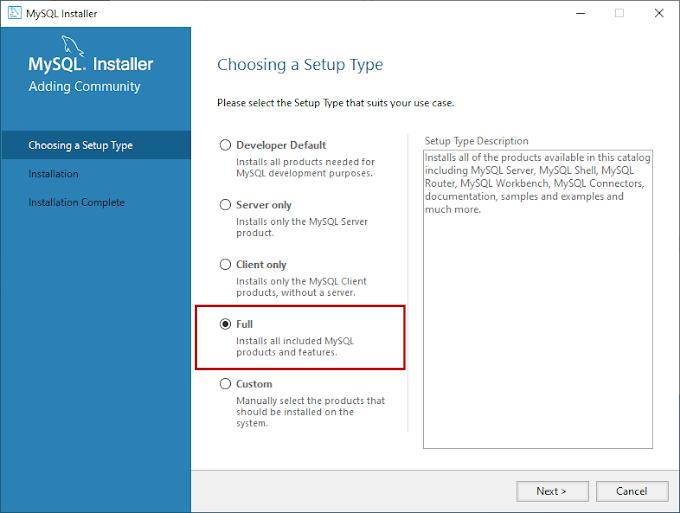 How to install MySQL database server 8.0.19 on Windows 10