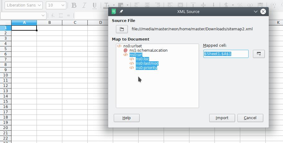 libreoffice calc open an xml sitemap file as table