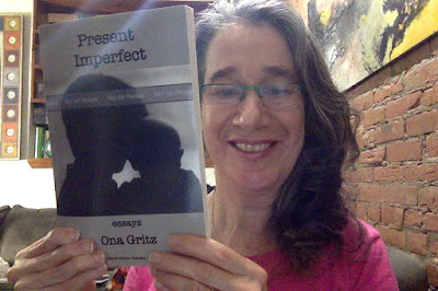 Author Ona Gritz with Present Imperfect (proof copy)