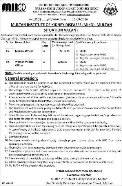 Doctors Jobs in Multan Institute of Kidney Disease