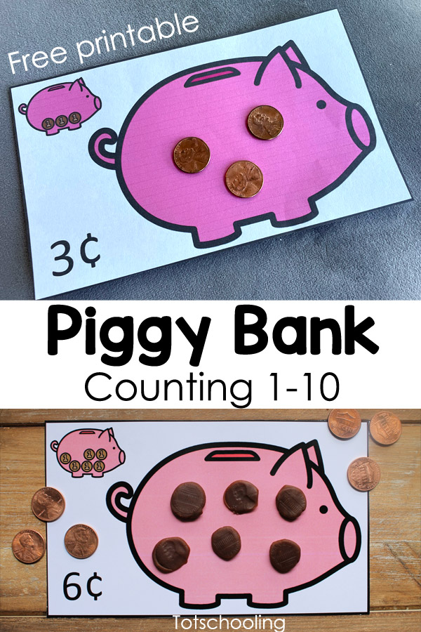 FREE printable Piggy bank theme counting and number sense activity for preschoolers, to be used with pennies or playdough.