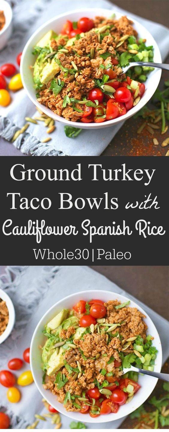 Ground Turkey Taco Bowls with Cauliflower Spanish Rice