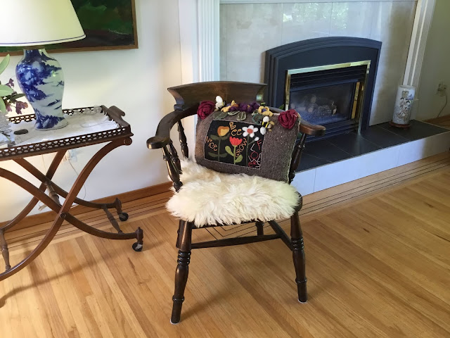 Bee Nice Grow Flowers Folk Art Pillow by Minaz Jantz SOLD to Kaarina and now has a new spot in her living space.
