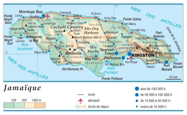 Carte générale de la Jamaïque