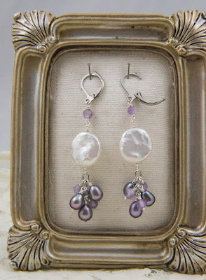 dangle cluster statement earrings stainless steel lavender rice pearl amethyst white coin pearl spring handmade jewelry