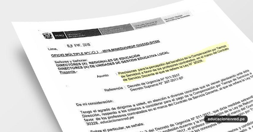 OFICIO MÚLTIPLE N° 001-2018-MINEDU/VMGP-DIGEDD-DITEN - Precisiones del beneficio de CTS para Docentes Contratados - www.minedu.gob.pe
