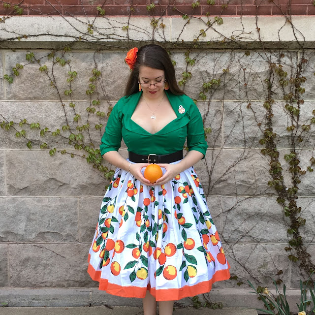 pinup girl clothing green doris top and oranges jenny skirt