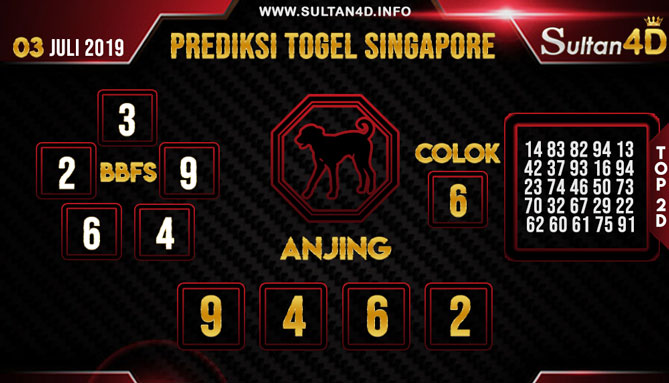 PREDIKSI TOGEL SINGAPORE SULTAN4D 03 JULI 2019