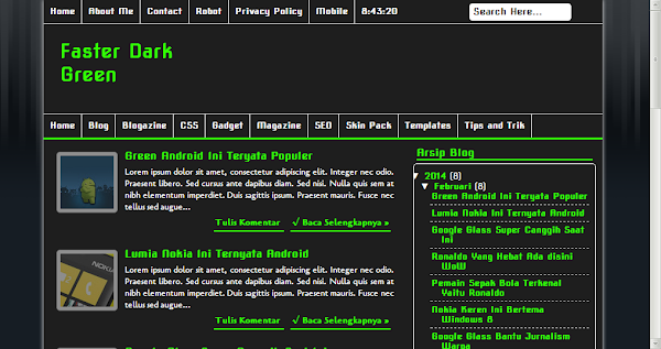 Faster Dark Green Simple Blogger Template