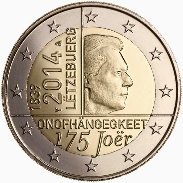 2 Euro Commemorative Coins Luxembourg 2014, independence of the Grand-Duchy of Luxembourg