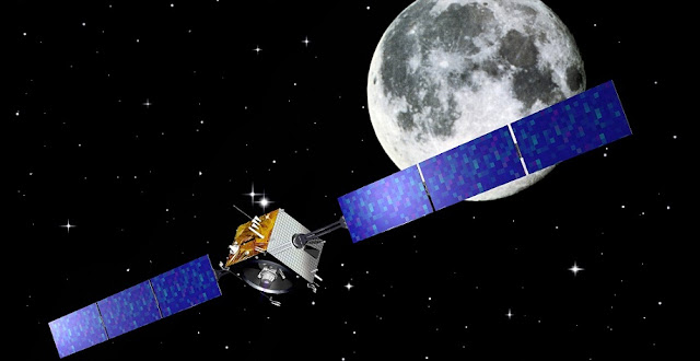 Artist's impression of ESA's SMART-1 mission at the Moon. Image Credit: ESA–J. Huart