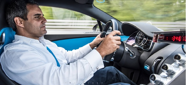 Juan Pablo Montoya durante recorde mundial do Bugatti Chiron