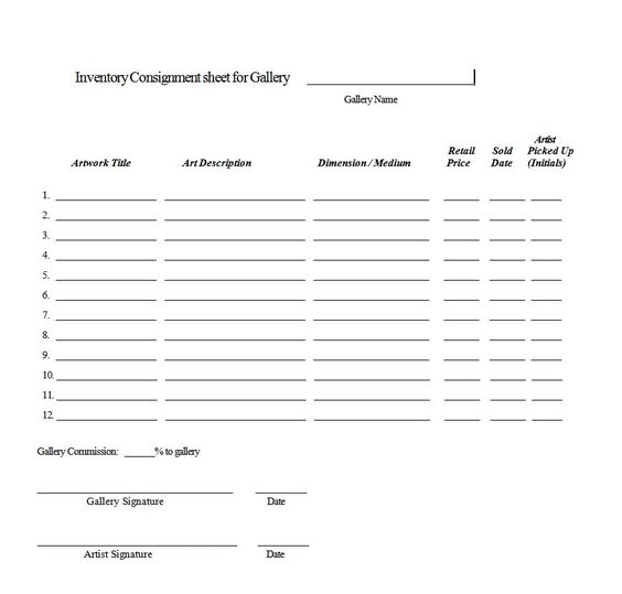 Consignment agreement form templates excel template for Consignment shop contract template