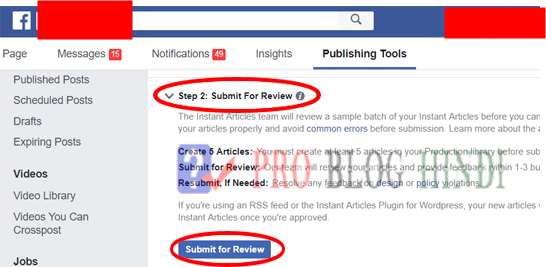 facebook instant articles for blogspot submit application final step
