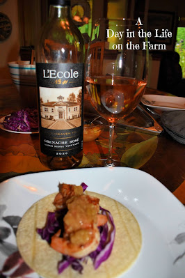 L'Ecole Granache Rose and Asian Shrimp Tacos with Gingered Rhubarb Sauce