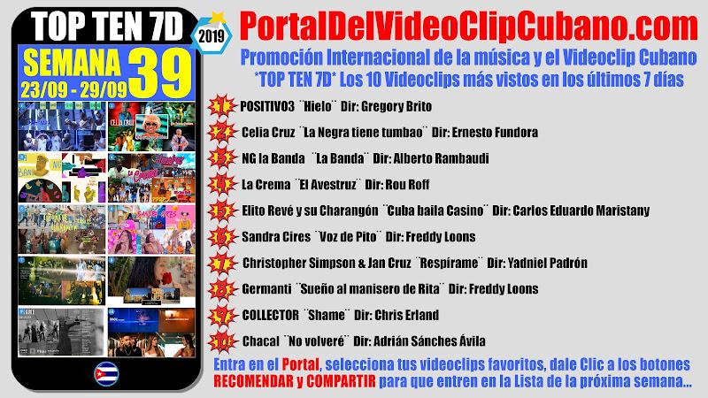 Artistas ganadores del * TOP TEN 7D * con los 10 Videoclips más vistos en la semana 39 (23/09 a 29/09 de 2019) en el Portal Del Vídeo Clip Cubano