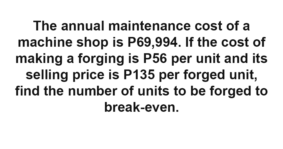 Solution: Find the number of units to be forged to break