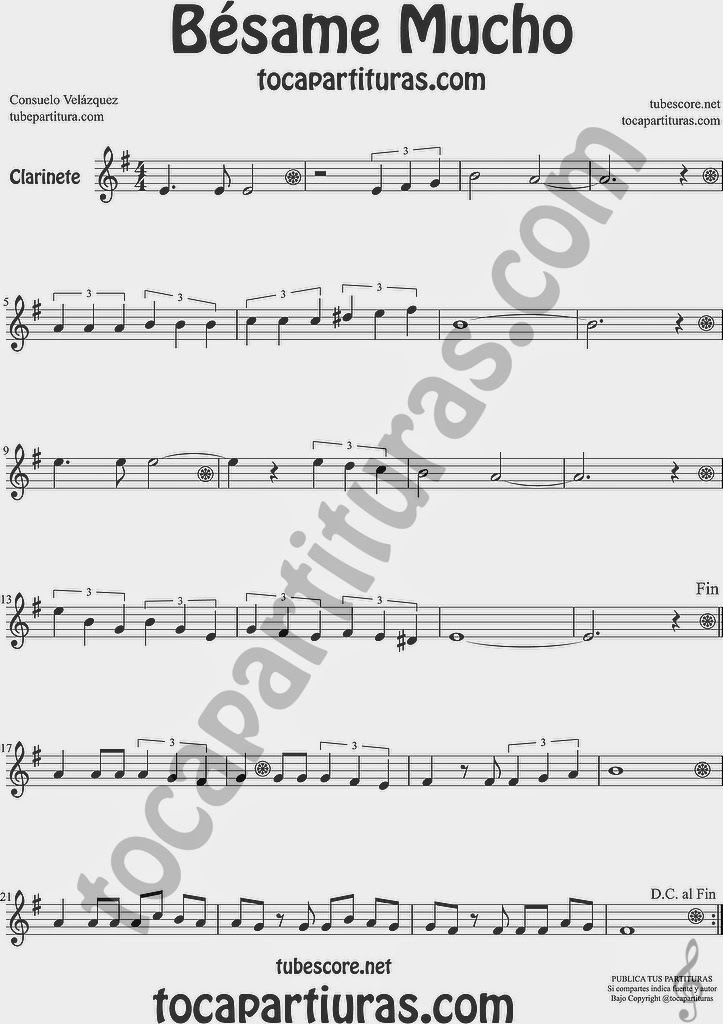 Bésame Mucho Partitura de Clarinete Sheet Music for Clarinet Music Score