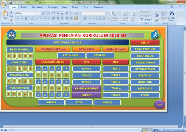 Aplikasi Penilaian Kurikulum 2013 SD Format Microsoft Excel