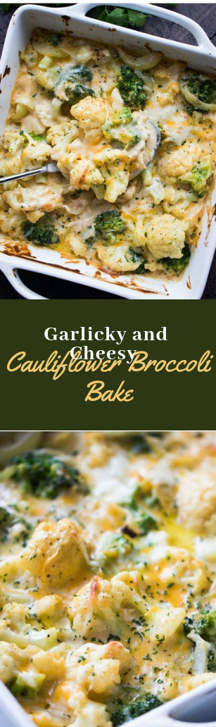Garlicky and Cheesy Cauliflower Broccoli Bake #healthy #diet