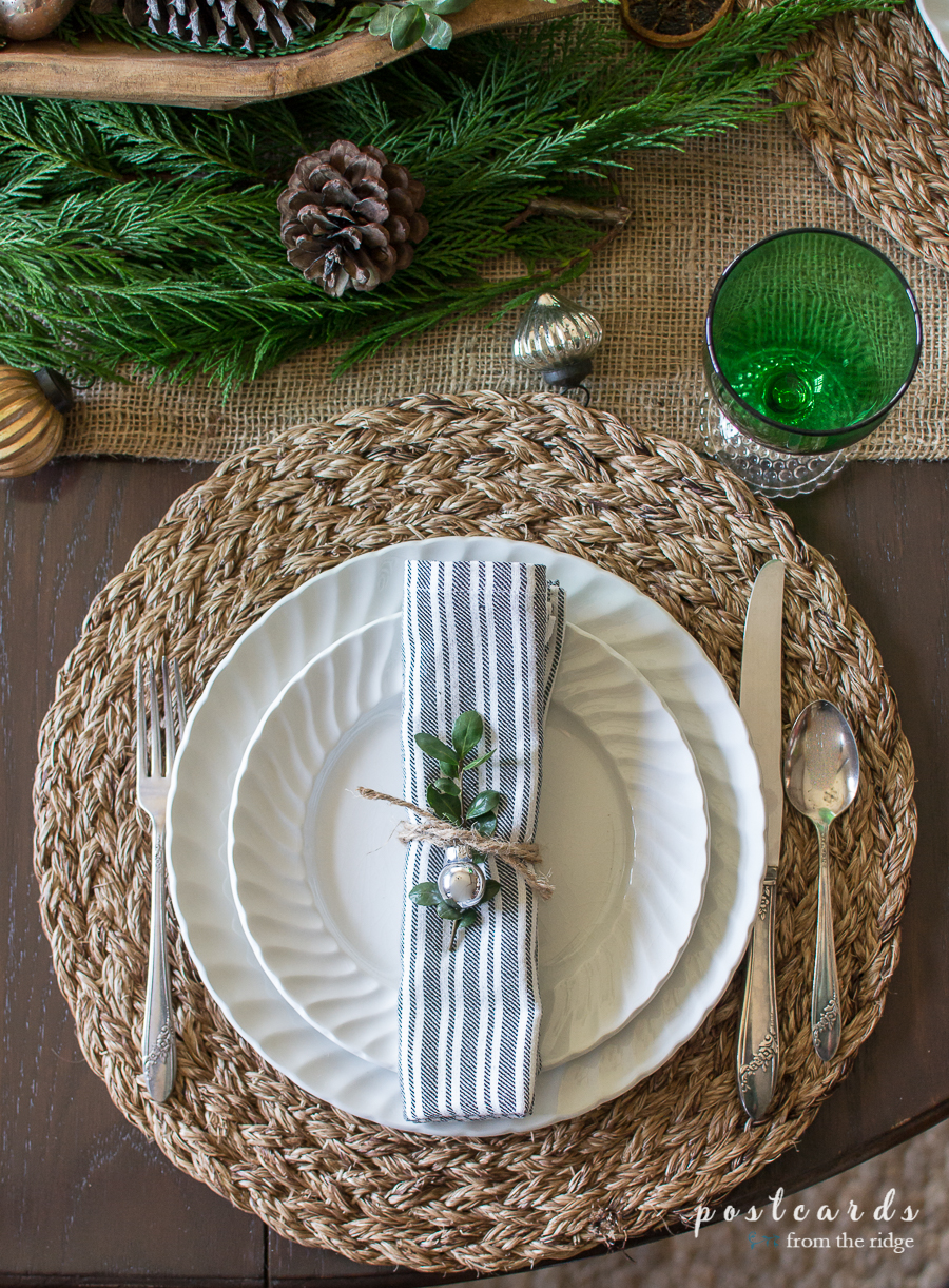 vintage ironstone dishes on a farmhouse tablescape