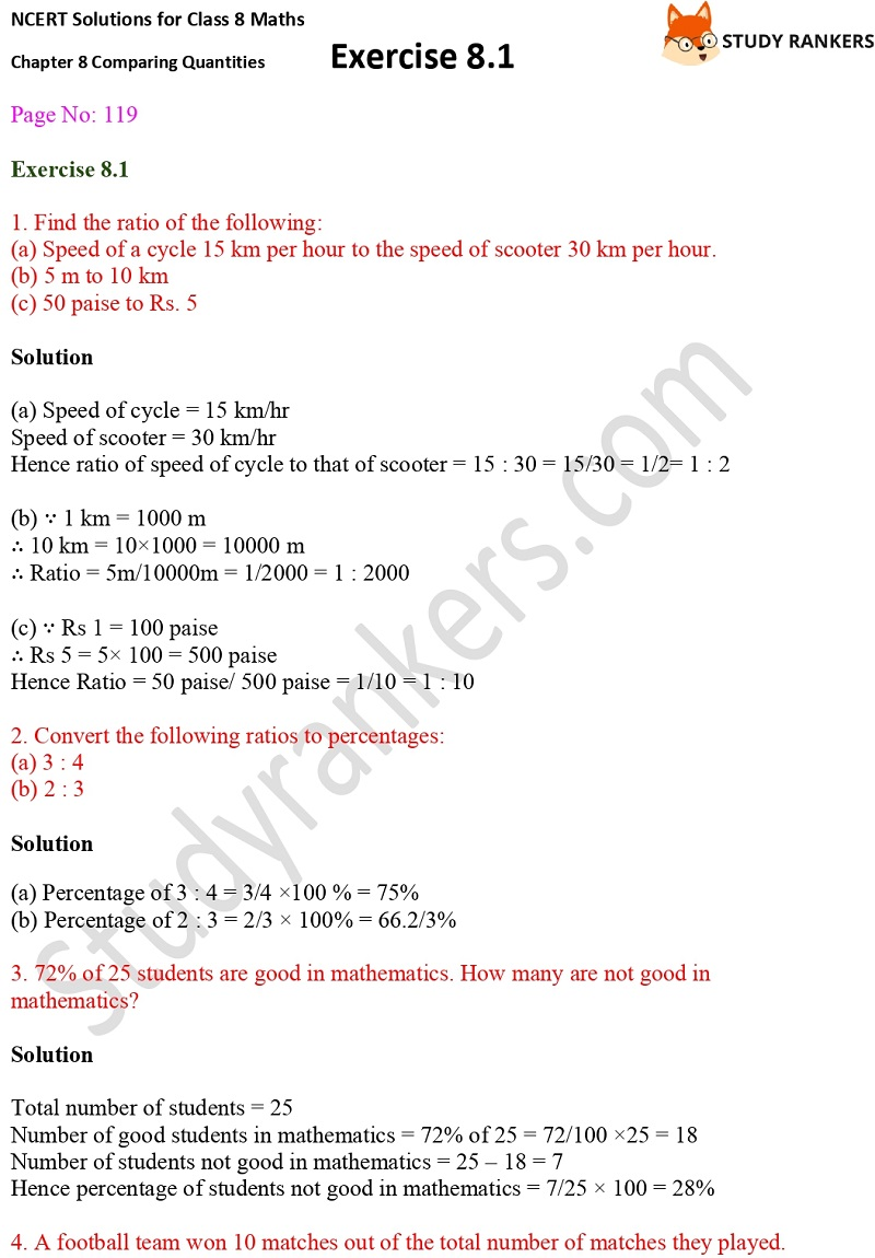 NCERT Solutions for Class 8 Maths Ch 8 Comparing Quantities Exercise 8.1 1