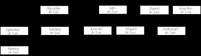 """Un petit arbre généalogique des familles """"Luz"""". Première branche indiquée : Eglantine de Luz engendre Martine de Luz. Deuxième branche indiquée : Mazarine de Luz engendre Émeline de Luz. Troisième branche indiquée : Ariel de Luz et Daniel de Luz sont engendrés des mêmes parents. Ariel de Luz engendre Judicaël de Luz et Abigaël de Luz. Daniel de Luz et Angeline de Coq engendre Nathanaël de Luz."""