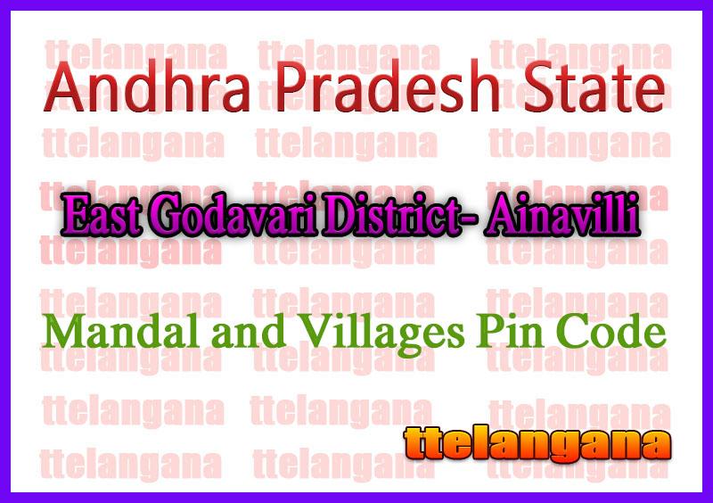 East Godavari District Ainavilli Mandal and Villages Pin Codes in Andhra Pradesh State