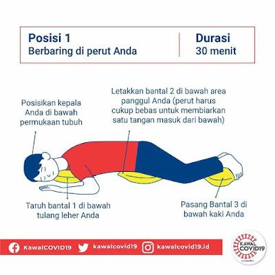 proning dengan posisi berbaring di perut