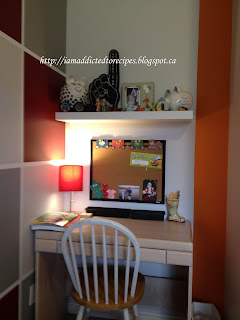 Workspace in or son's bedroom, with a stripe of orange, his favorite color