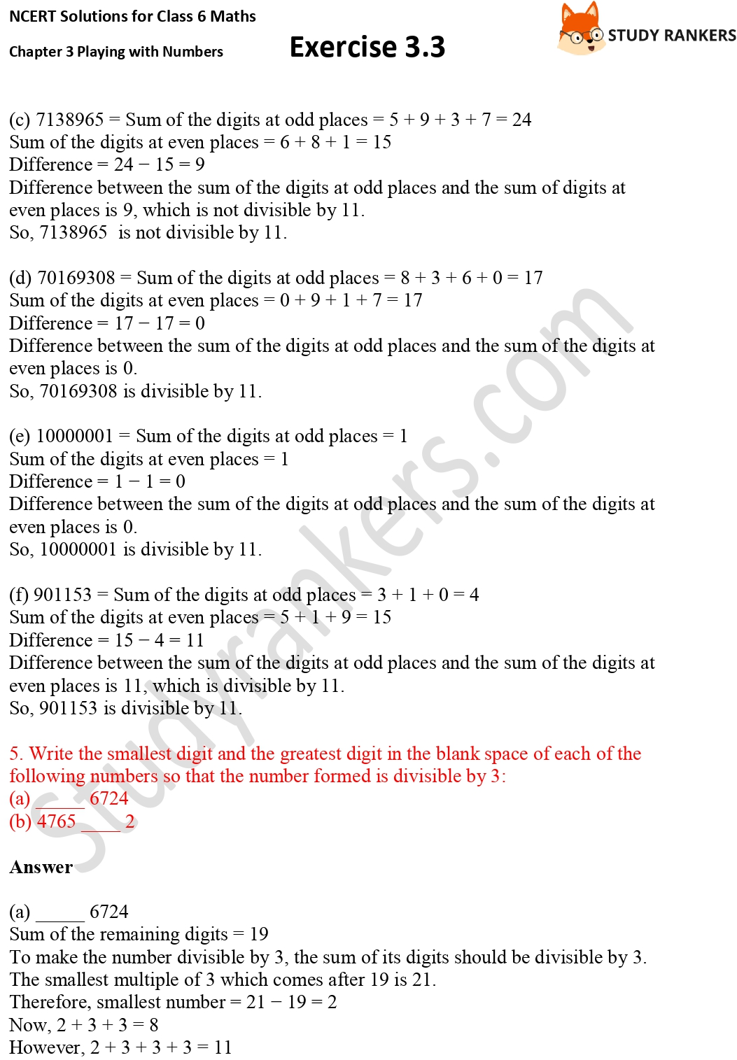 NCERT Solutions for Class 6 Maths Chapter 3 Playing with Numbers Exercise 3.3 Part 5