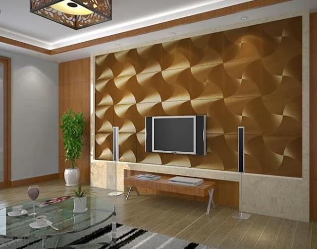 Modern Gold Foil Wallpaper Windmill Reflective PVC Wallpaper Living Room
