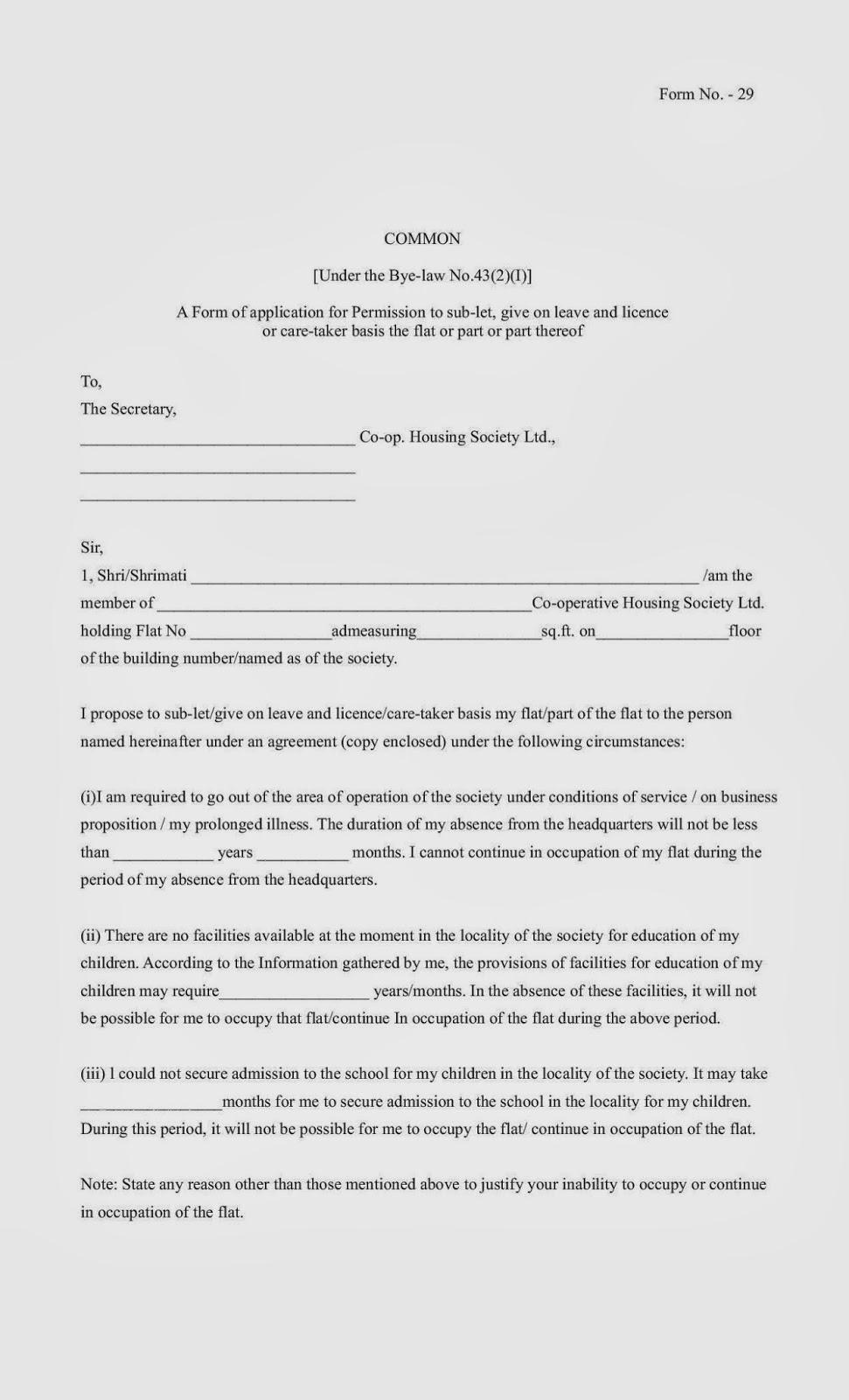 Housing Society Maharashtra Form No 11 29 For Nominal