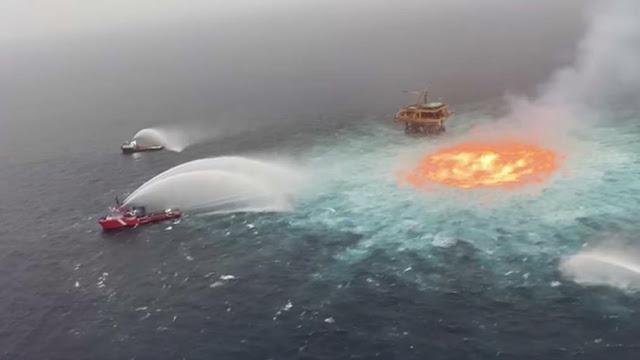 Controla Pemex emanación de gas y fuego en ducto submarino