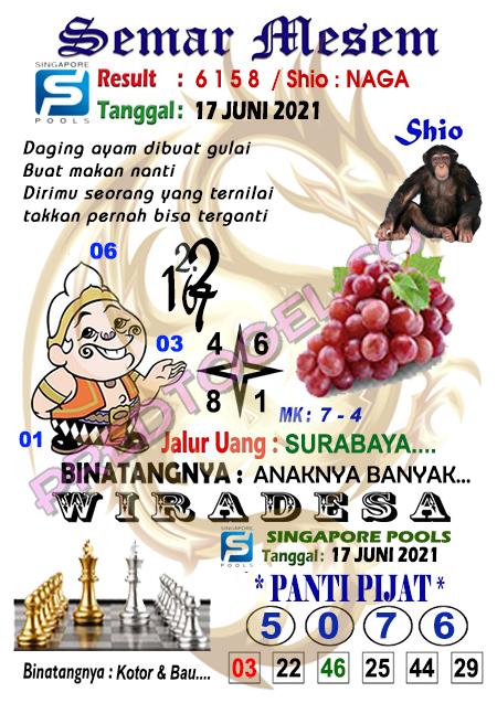 Syair Semar Mesem SGP kamis 17 juni 2021