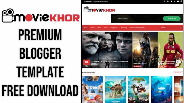 MovieKhor Movie Premium Blogger Template Free Download Without Footer Creadit