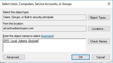 استبعاد أجهزة الكمبيوتر من نهج GPO