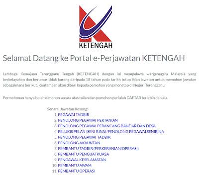 Iklan Jawatan Kosong Lembaga Kemajuan Terengganu Tengah (KETENGAH)