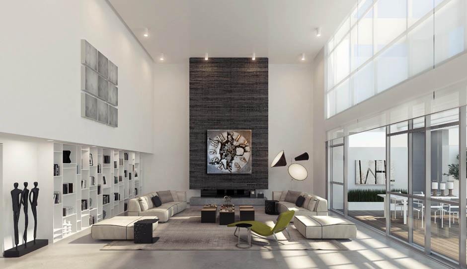 nowoczesny salon z zegarem na ścianie