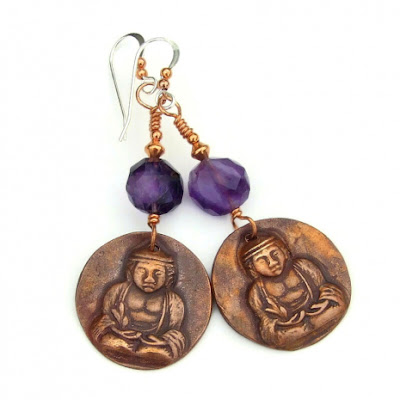 copper buddha and amethyst dangle earrings gift for women