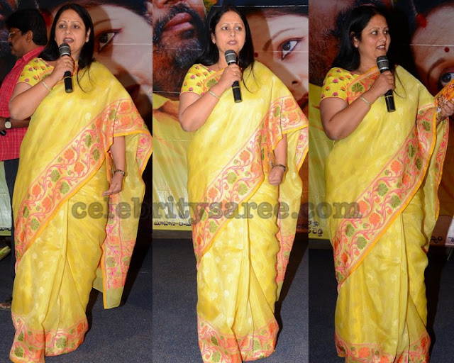 Jayasudha in Yellow Printed Saree