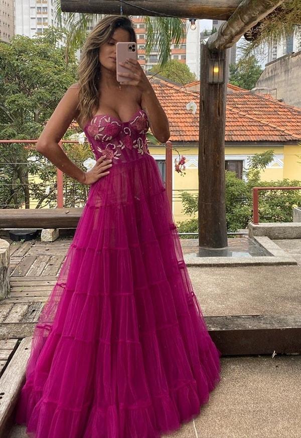 vestido de festa fúcsia para madrinha de casamento