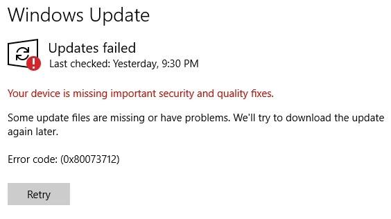 أحدث مشاكل تحديث Windows 10 إصلاحات الأمان المفقودة