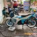 Sơn xe máy Suzuki Satria màu xanh trắng cực đẹp