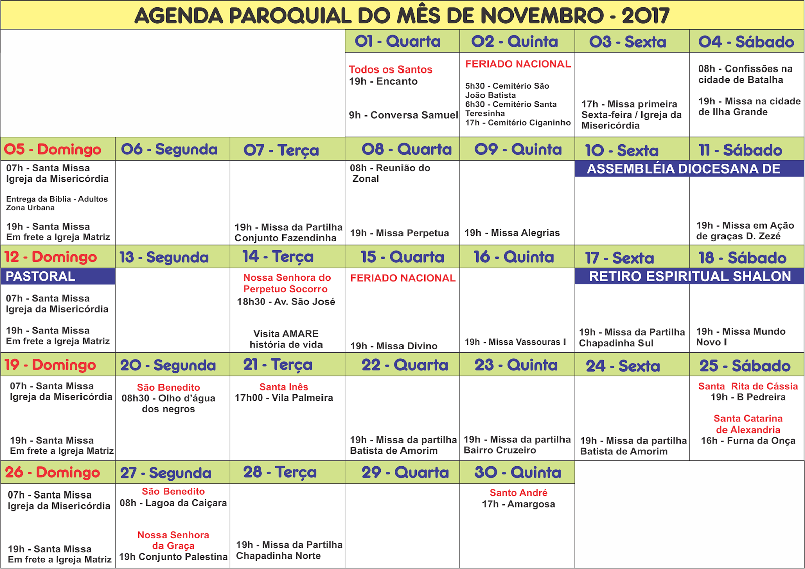 Agenda Paroquial: Novembro de 2017