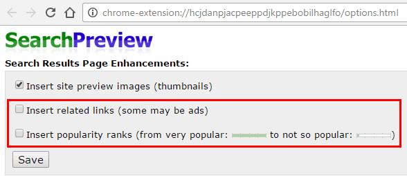 Opzioni estensione SearchPreview