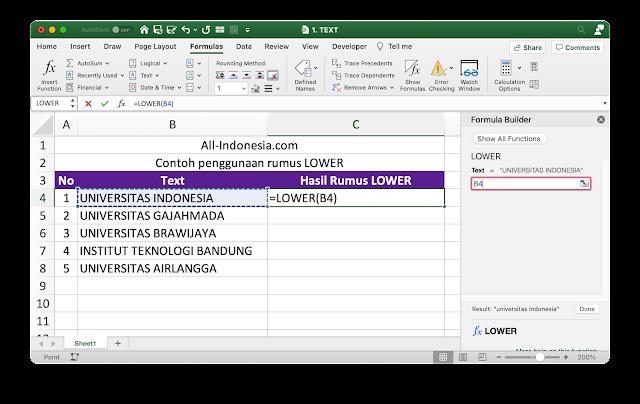 Rumus Lower pada Excel
