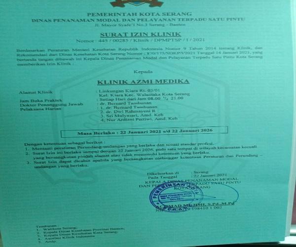 Izin Klinik Azmi Medika Kecamatan Walatantaka, Resmi Terdaftar dan Legal